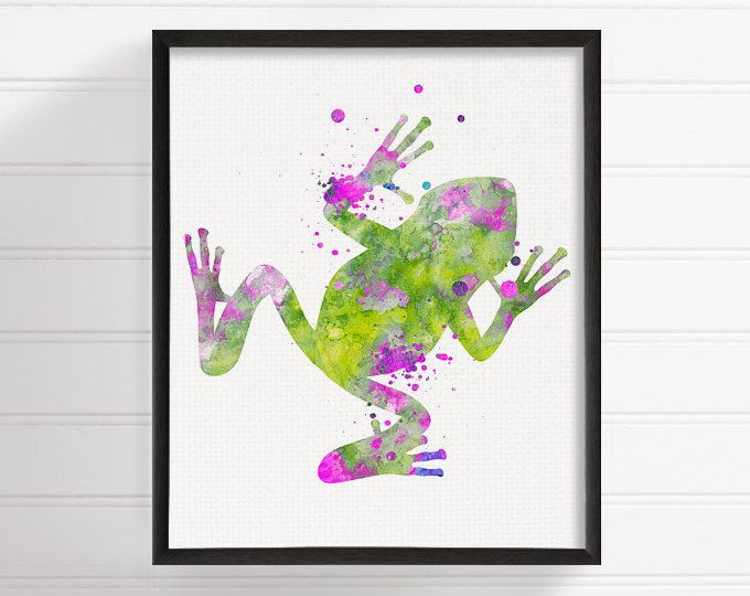Frog Art Print, Frog Poster, Watercolor Frog Painting, Frog Wall Art ...