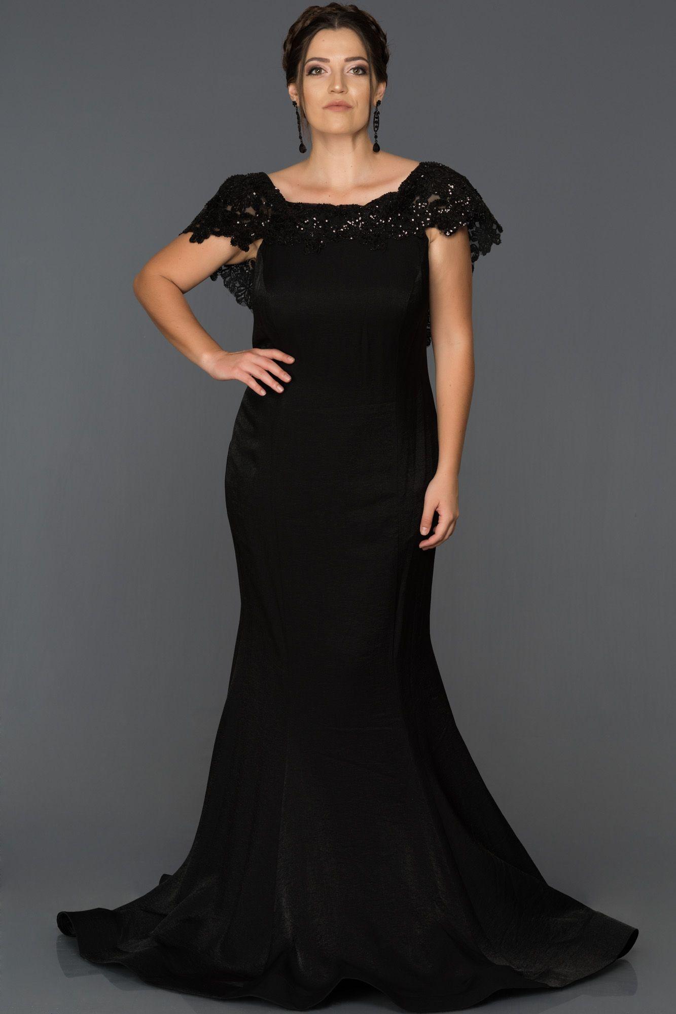 Siyah Dekoltesiz Buyuk Beden Balik Abiye Abu294 The Dress Resmi Elbise Elbise