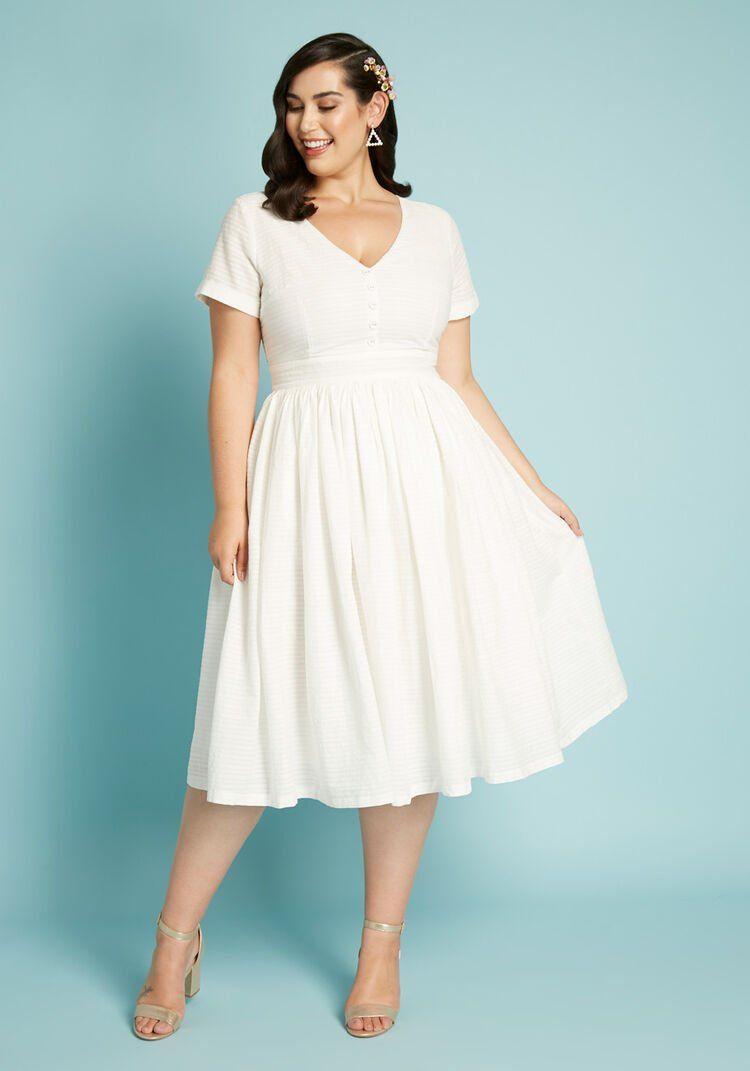Fabulous Fit And Flare Shirt Dress Modcloth White Plus Size Dresses Mod Cloth Dresses Flare Shirt [ 1071 x 750 Pixel ]
