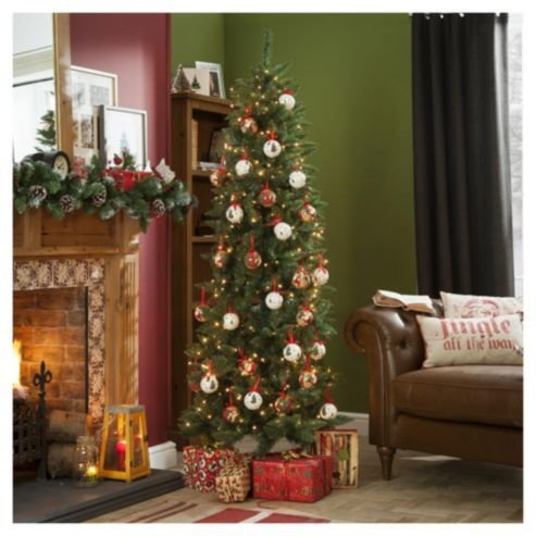 Tesco Direct 6 5ft Slim Christmas Tree Luxury Christmas Tree Christmas Decorations Diy Outdoor Pre Lit Christmas Tree