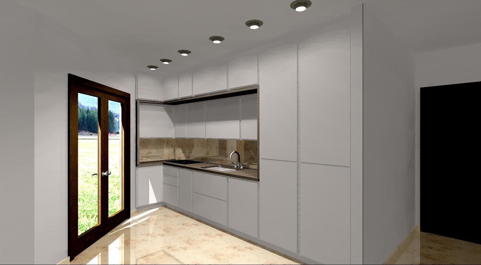 Progetto cucina con pensili a soffitto.