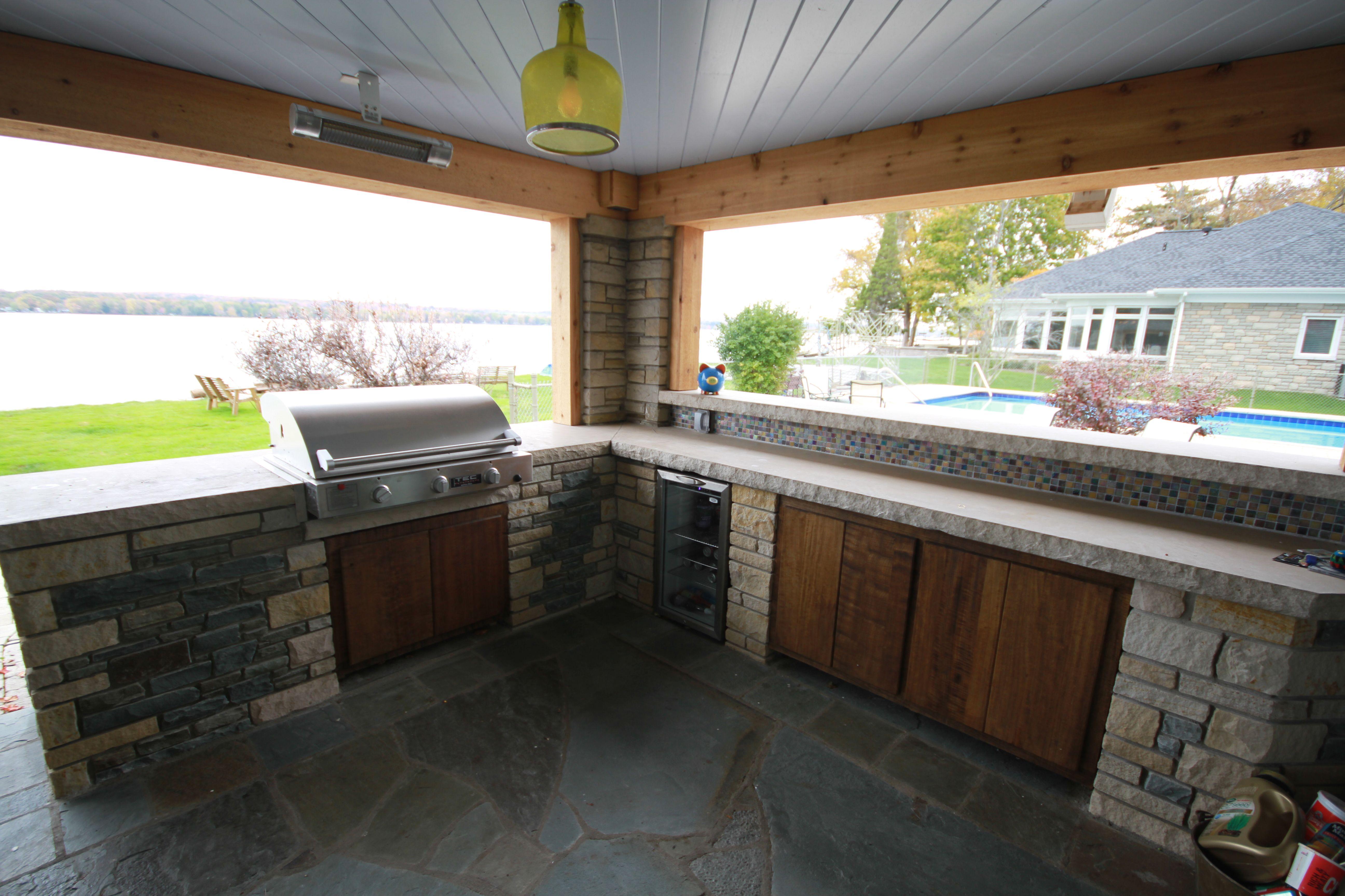 Outdoor Bar and Kitchen on Lake Chautauqua. Sivak Stone Masonry