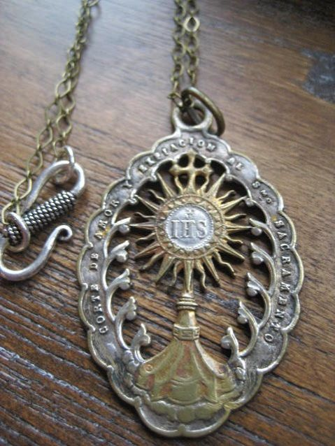 Antique Catholic Priest Ihs Medal Brass Necklace