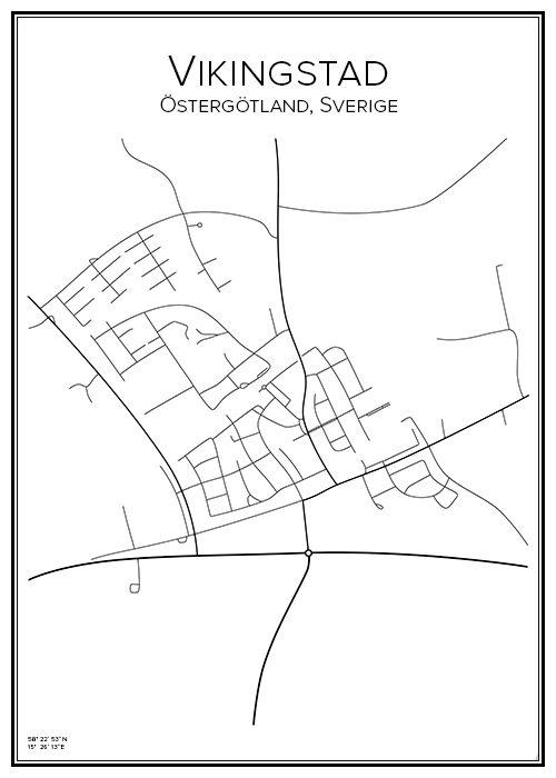 Vikingstad. Östergötland. Sverige. Map. City print. Print. Affisch. Tavla. Tryck. Stadskarta.