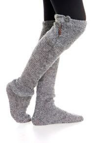 These long socks are crocheted so inspiration but surely, we take a knit pattern and extend to above knee and work a buttoned 'cuff' with opening?..... Definitely putting these on my 'to try' list!