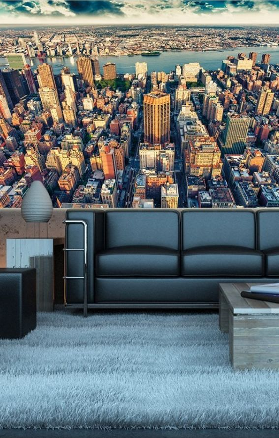 fototapete new york skyline in der d mmerung wand. Black Bedroom Furniture Sets. Home Design Ideas