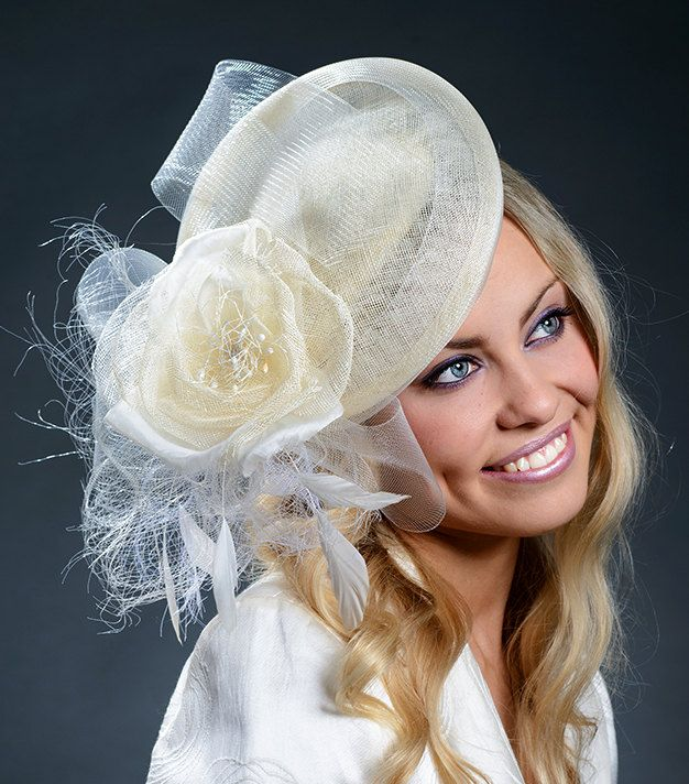 Ivory stunning saucer hat for Derby Ascot weddings by MargeIilane