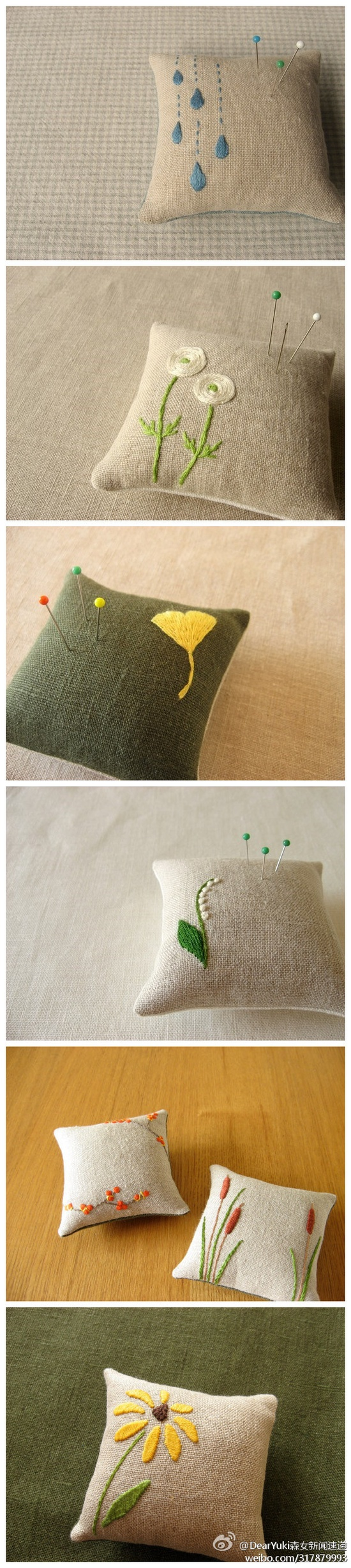 sweet embroidered pincushions on linen. Would be great as full sized pillows