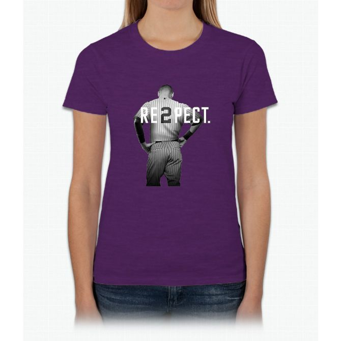 Respect Derek Jeter Re2pect 2 On Back new york uniform MJ baseball Womens T-Shirt