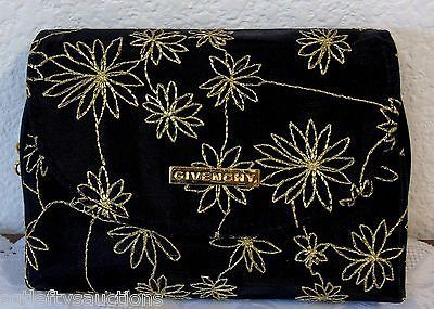 Vintage Retro GIVENCHY Embroidered Metallic Thread Flowers Clutch Mirror