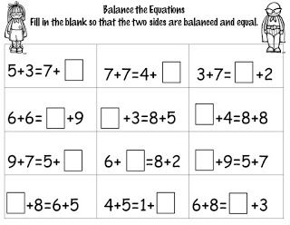 Friday Freebie 1st Grade Math Balancing Equations Equations