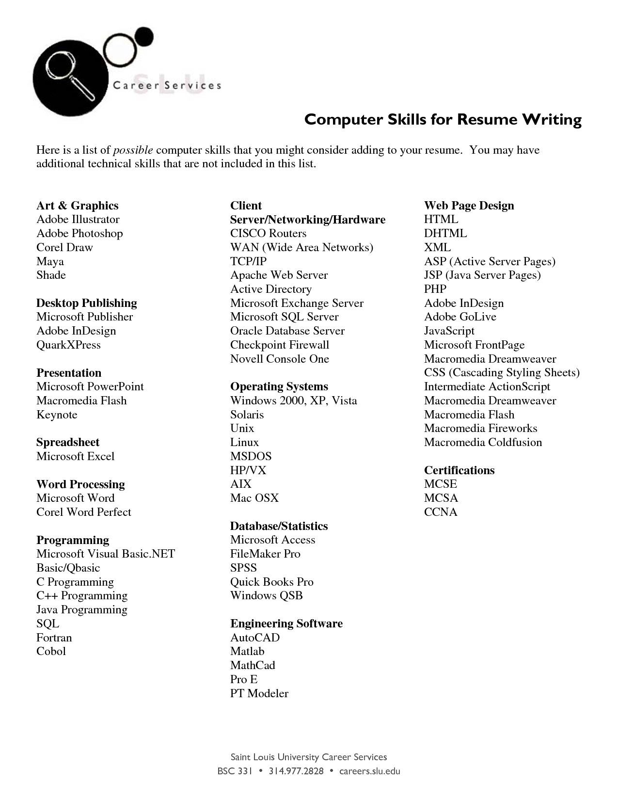What Should I Put On My Resume For Computer Skills Bongdaao Com