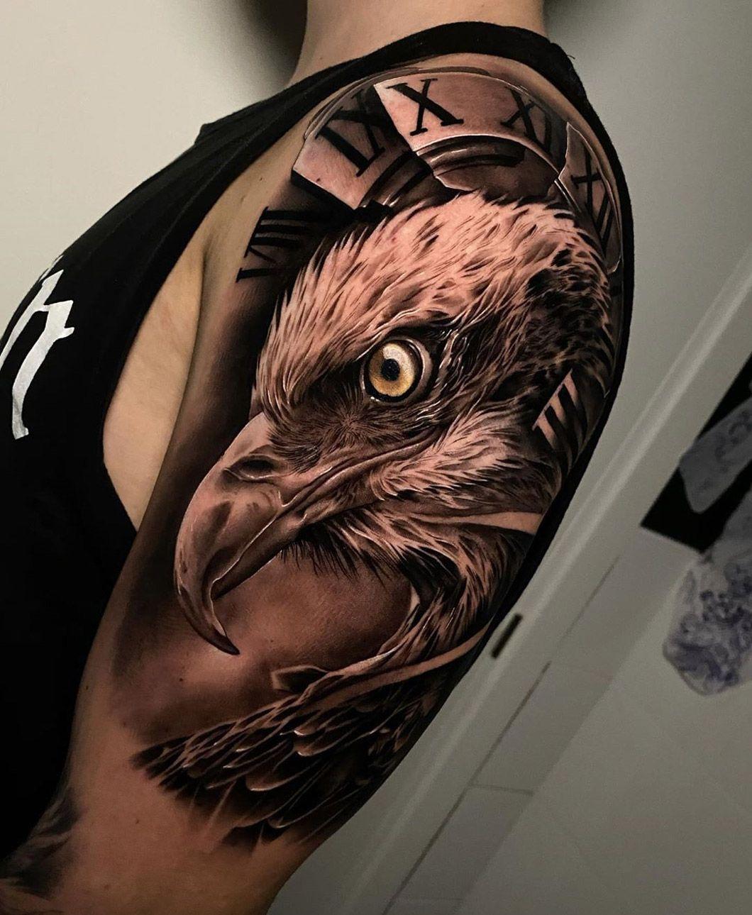 Eagle Broken Clock Face Bald Eagle Tattoos Eagle Tattoo Eagle Tattoos