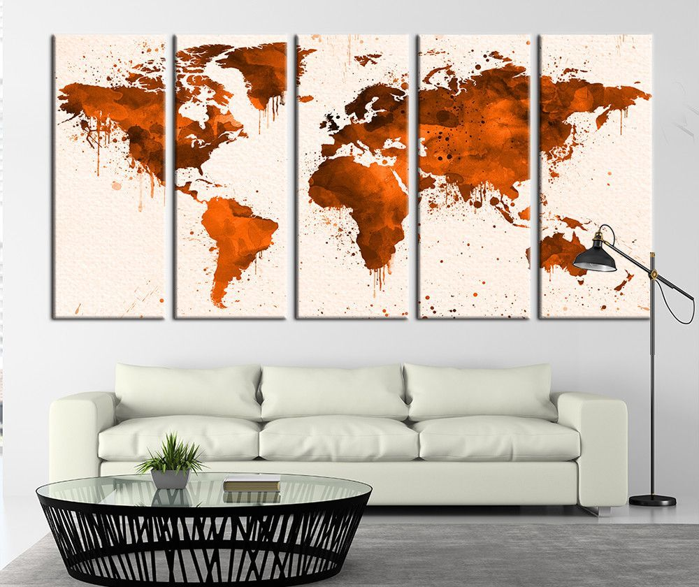 Watercolor orange world map canvas art watercolor world map art watercolor orange world map canvas art watercolor world map art print no030 gumiabroncs Gallery