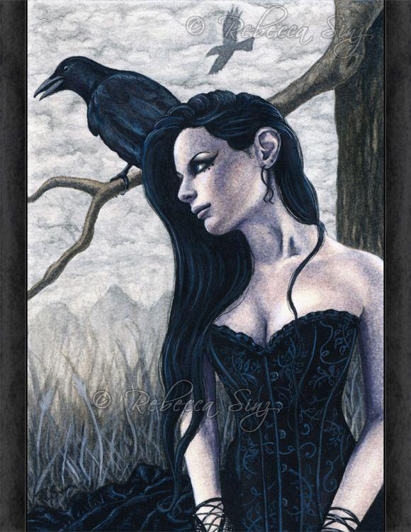 891c3a51 Raven Woman Art | ... Fantasy Art MEDIUM SIZE PRINT Raven crow tree ...