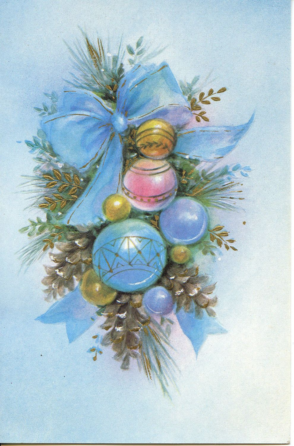 Vintage Christmas Card With Greenery Ornaments And A Light Blue