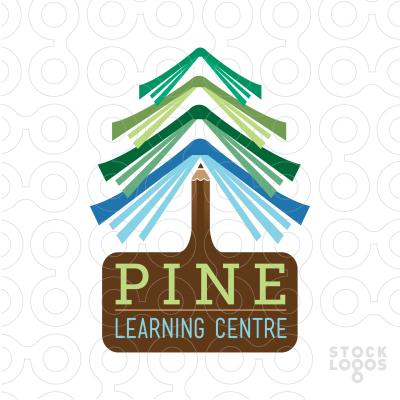 Pine Tree Book Readymade Logos For Sale Christmas Tree Logo Forest Logo Kindergarten Logo