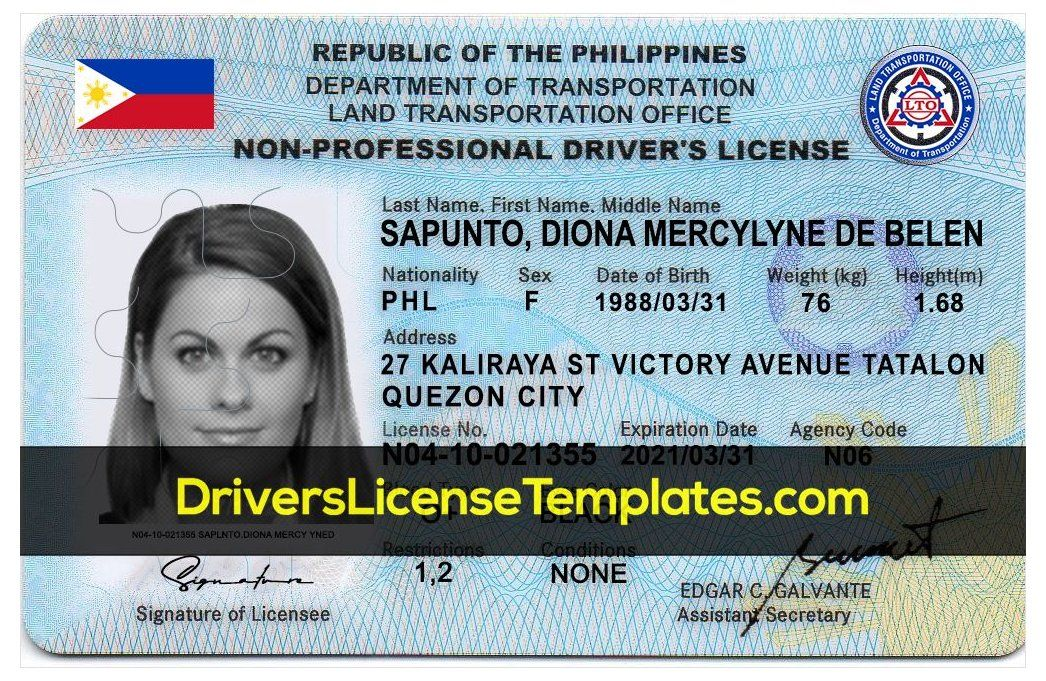 Fake Philippine Drivers License Template Editable Psd Id Card Template Driver S License Photoshop Fake Phi Drivers License Id Card Template Card Template