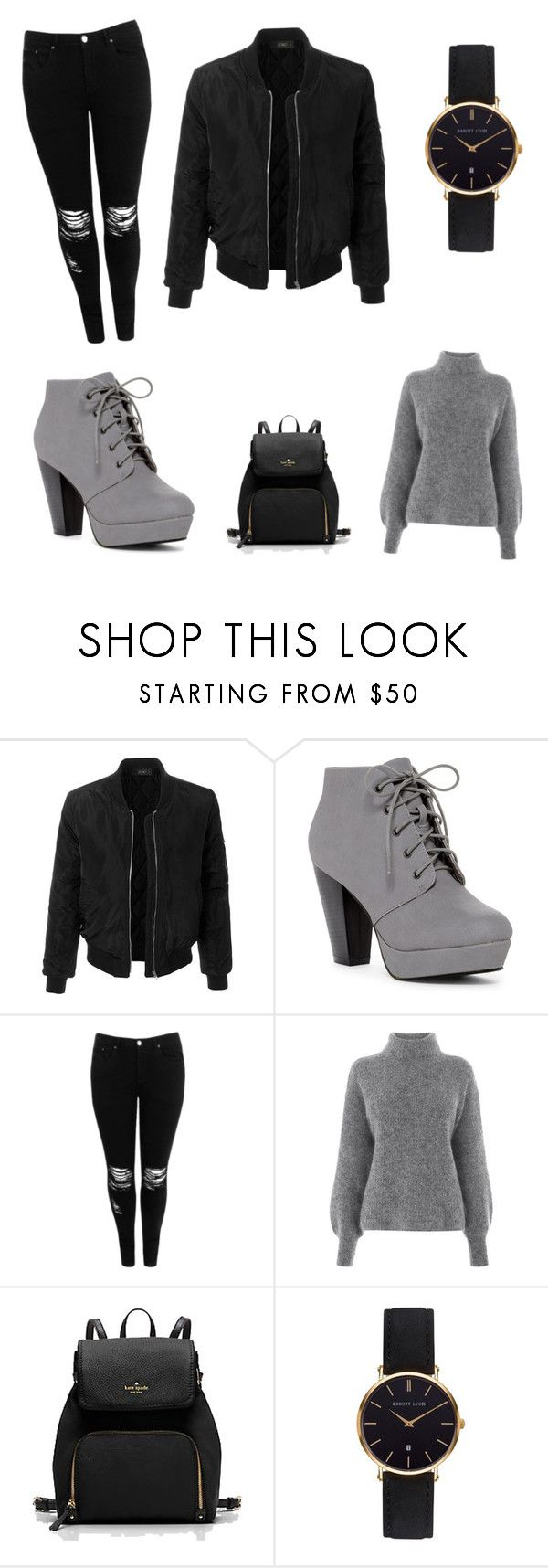 """""""Gray"""" by bettiedesjardins ❤ liked on Polyvore featuring LE3NO, Boohoo, Warehouse and Abbott Lyon"""