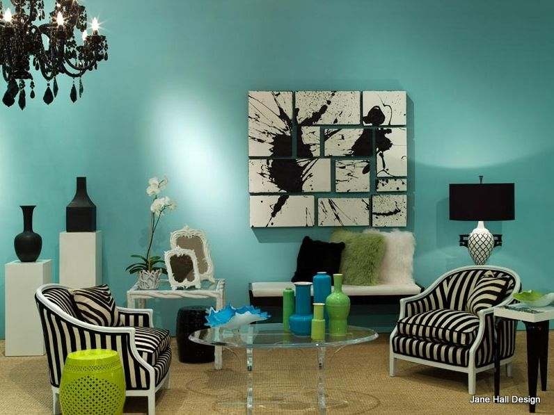Regency Redux Room With Aqua Blue Walls And Black White Upholstered Furniture Decorative Accessories