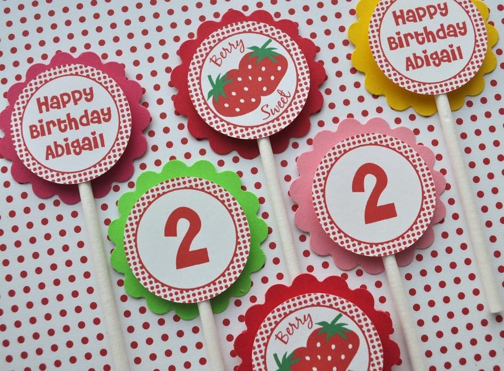 12 Strawberry Birthday Cupcake Toppers - Berry Sweet Strawberry Birthday Party - Personalized Birthday Decorations. $10.00, via Etsy.