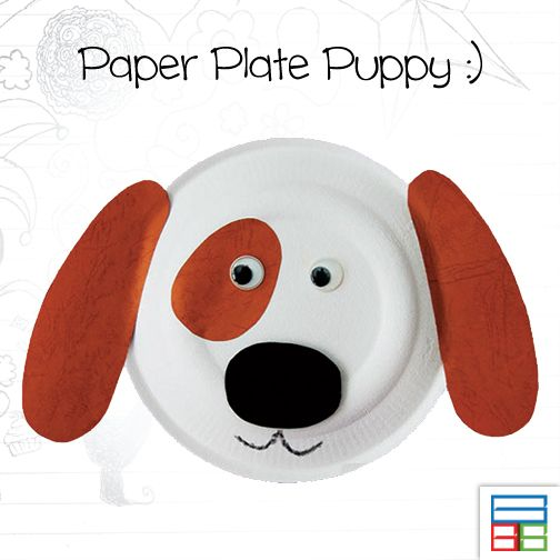 This puppy just needs brown paper cut-outs for the ears and the patch around the eyes. The nose can be cut out from a thick craft foam to give it a more three-dimensional feel. Have fun! #Kids #DIY #PaperPlate #Puppy