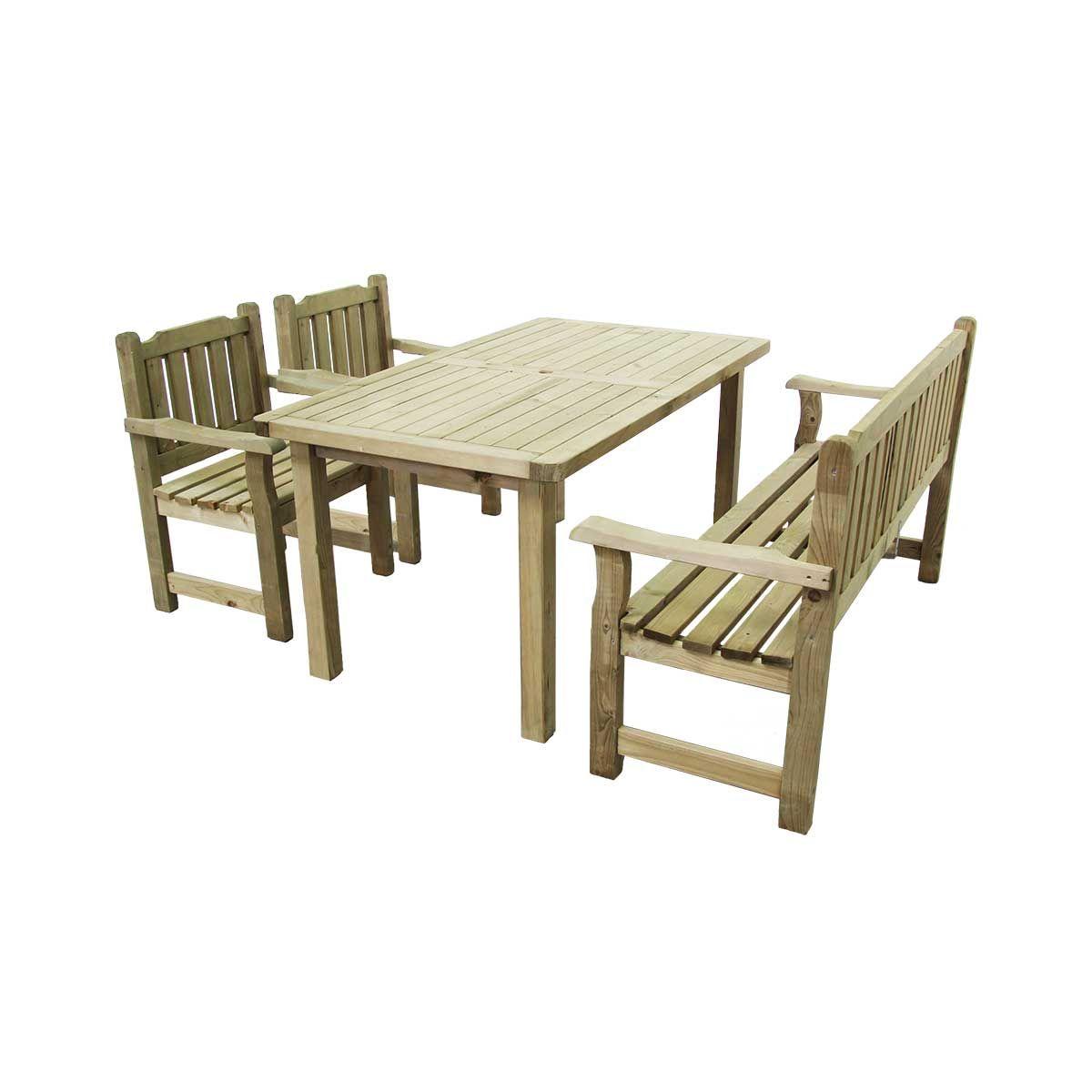 Salon De Jardin En Bois Traité 1 Banc 2 Fauteuils 1 Table ...