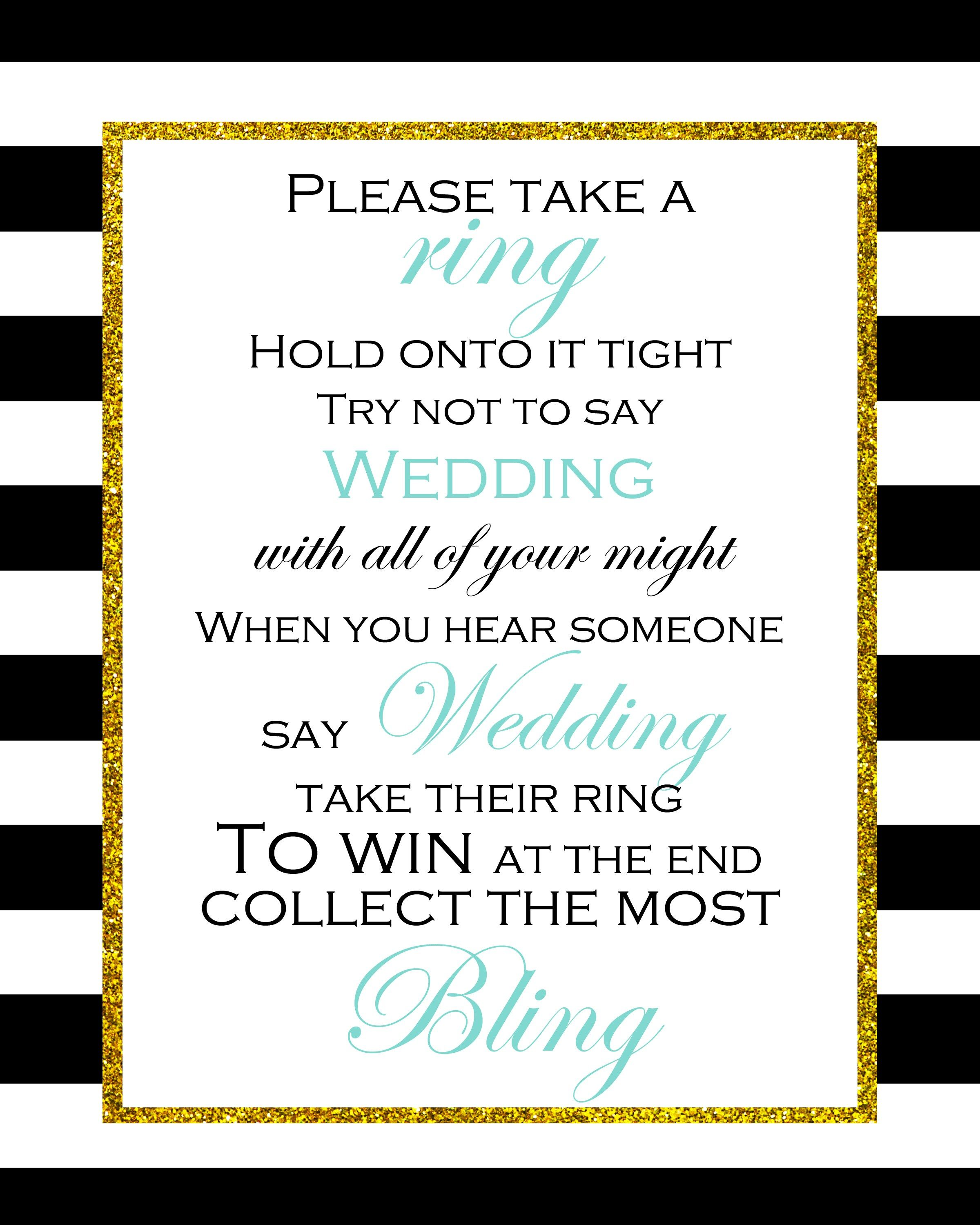 FREE Don't Say Wedding Game