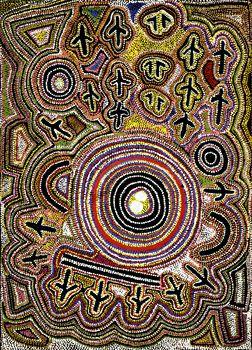 Songlines Aboriginal Art, Eagle Dreaming, Yuendumu Painting 16