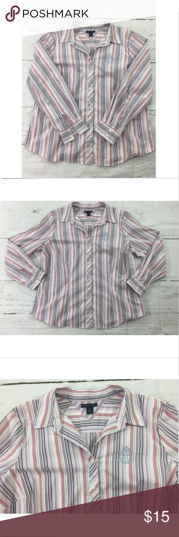 Tommy Hilfiger Red Striped Dress Shirt Size 18 Dress Shirt Sizes