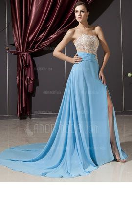 Evening Dress With Lace Beading Split Front  at an affordable price of $190.99