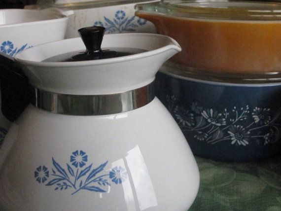 Corning Pyrex White with Blue Cornflower 6 cup Teapot, with the lid on Etsy, $15.00