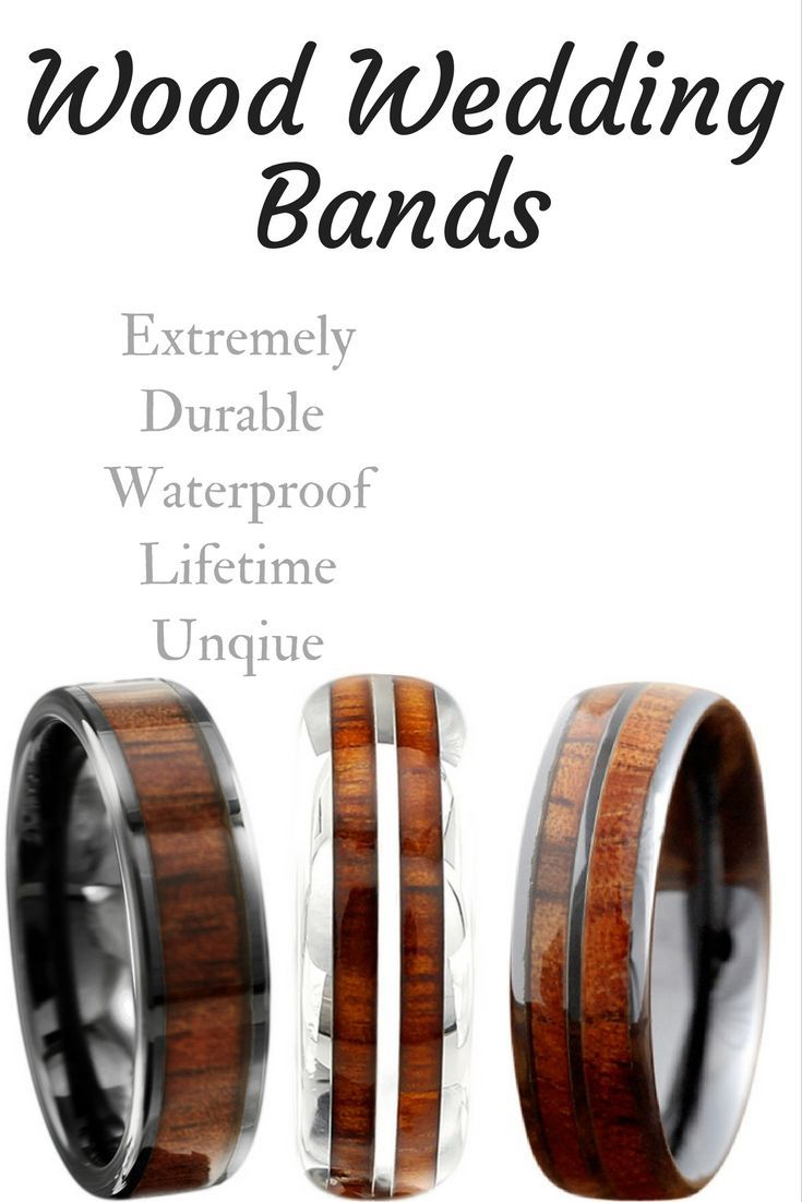 Mens wood wedding bands that have been crafted out of tungsten