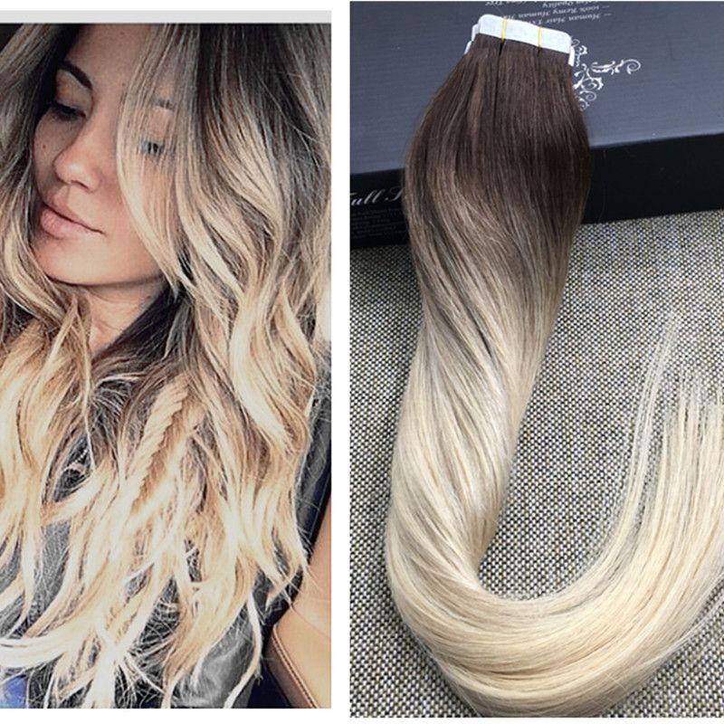 Full Shine Blonde Ombre Human Hair Balayage Skin Weft Seamless Hair