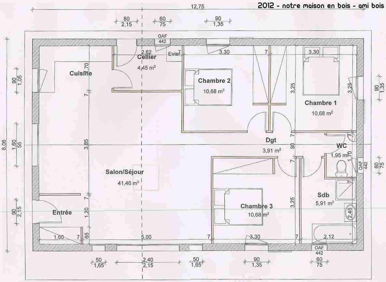 Plan De Maison Avec Autocad Magnifique Cr Er Un En Ligne Co 2   Plan maison 90m2, Plan maison ...