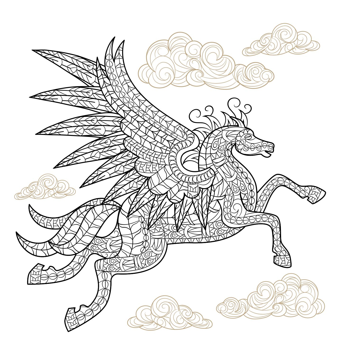 Pegasus Winged Horse Adult Coloring Page - Craftfoxes