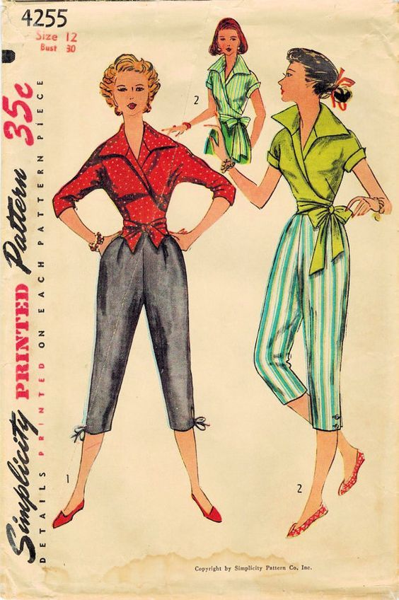 1950s - Ladies pedal pushers - sewing pattern https://www.etsy.com/listing/215882669/1950s-simplicity-4255-vintage-sewing