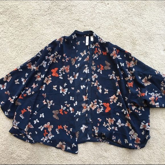 Navy Butterfly Kimono Lightweight. Semi-sheer. Open front. Hits relight below waist. Stunning condition. No snags! Xhilaration Accessories Scarves & Wraps
