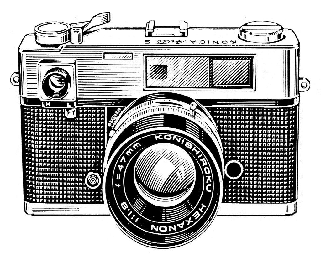 20+ Vintage camera clipart black and white information   Free Clip ...