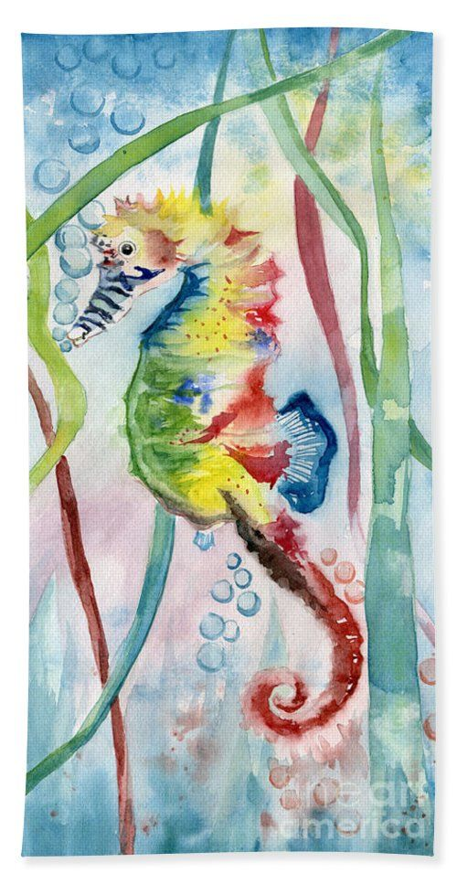 Rainbow Seahorse Beach Towel featuring the painting Rainbow Seahorse by Melly Terpening