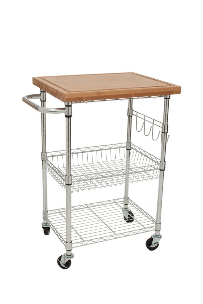TRINITY EcoStorage Bamboo Kitchen Cart - Chrome | Products ...