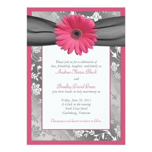 Pink and Grey Floral Damask Wedding Invitation