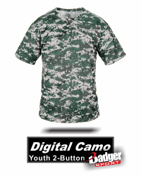 9461044604f BUY YOUTH 2 BUTTON DIGITAL CAMO BASEBALL JERSEY BY BADGER SPORT STYLE NUMBER  2980.