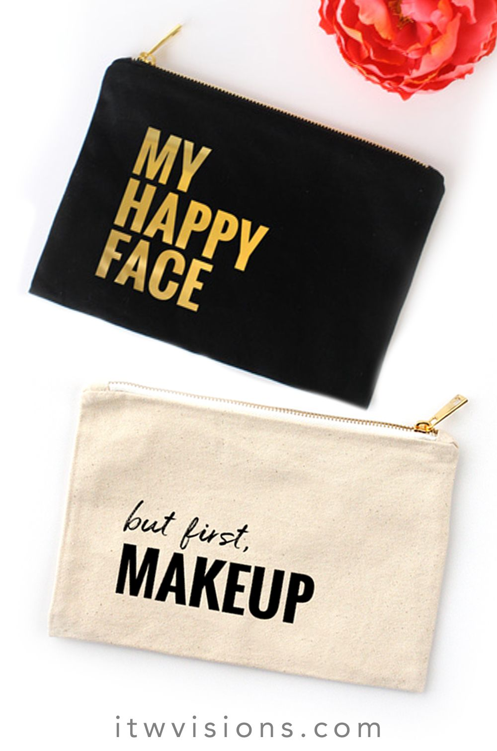 super cute canvas cosmetic bags with fun little sayings