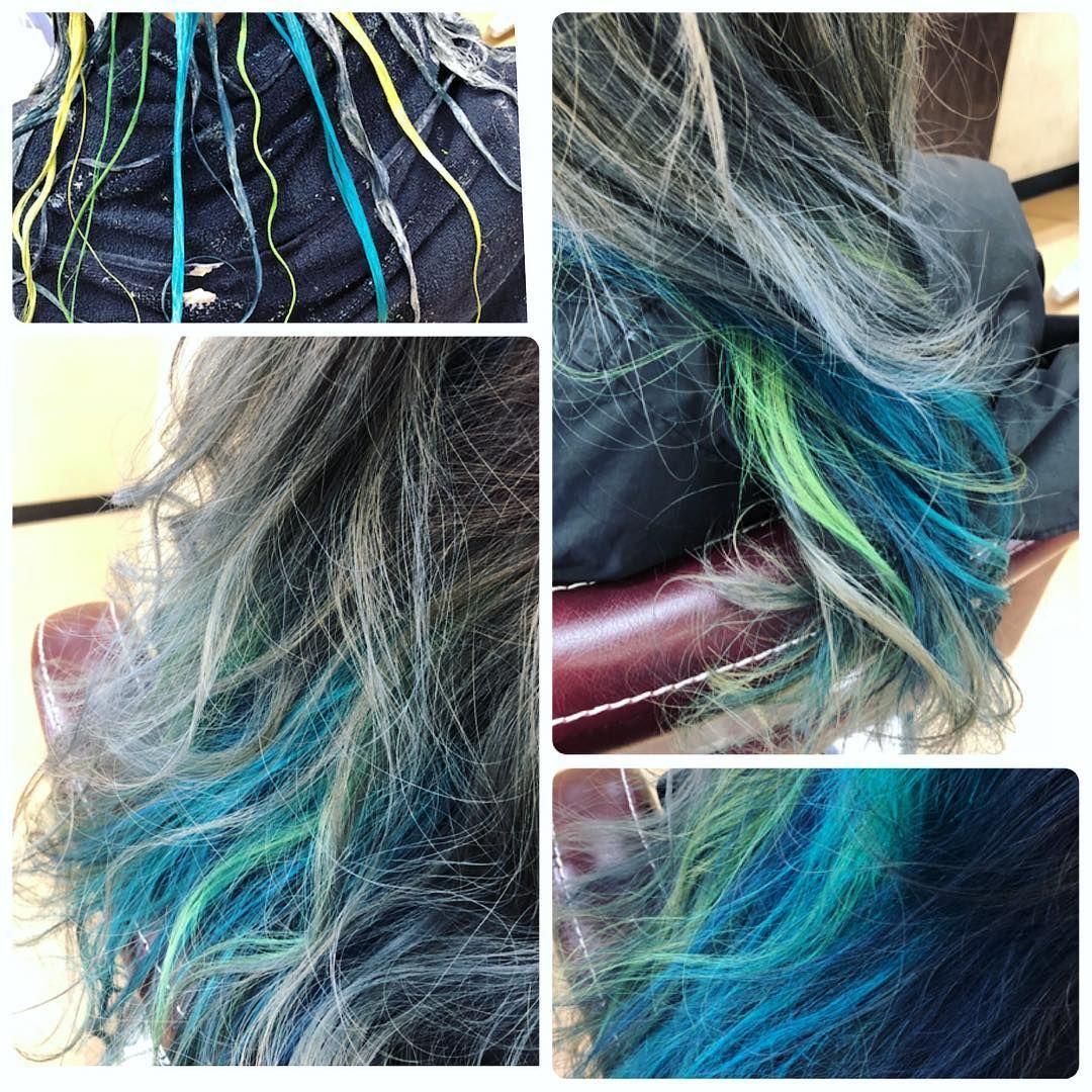 インナーカラーをブルーとグリン系で 蛍光黄緑 好きな色