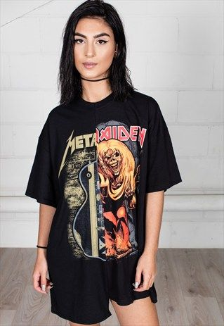 c7e4ea9dae653 IRON MAIDEN METALLICA RECONSTRUCTED UNISEX T-SHIRT DRESS | threads ...
