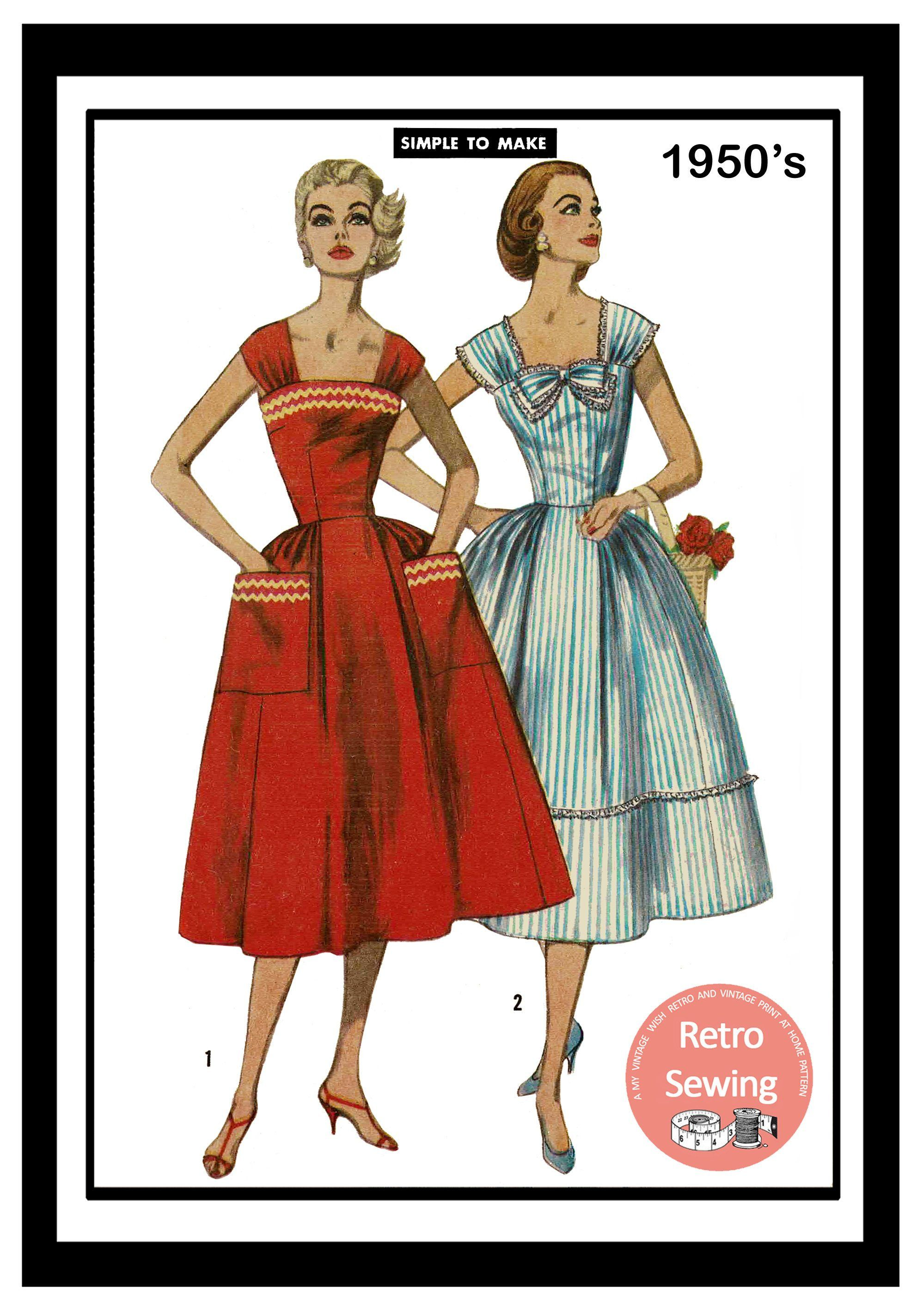 1950s Summer Dress With Pockets Sewing Pattern Pdf Instant Etsy Evening Dress Sewing Patterns Summer Dresses Sewing Patterns [ 2847 x 1984 Pixel ]