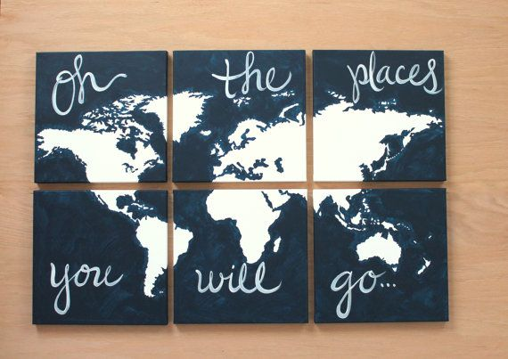 world map canvas oh the places you will go 6 12x12s custom colors hand painted original dark charcoal gray grey orange blue
