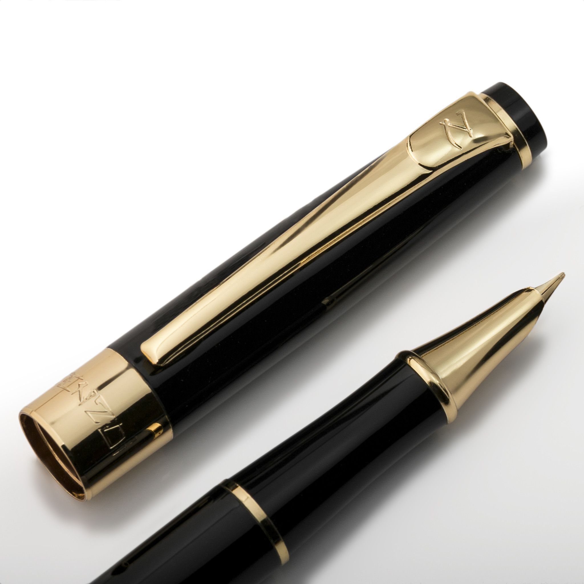 Black /& Gold Pen Ballpoint~Black Ink Refillable