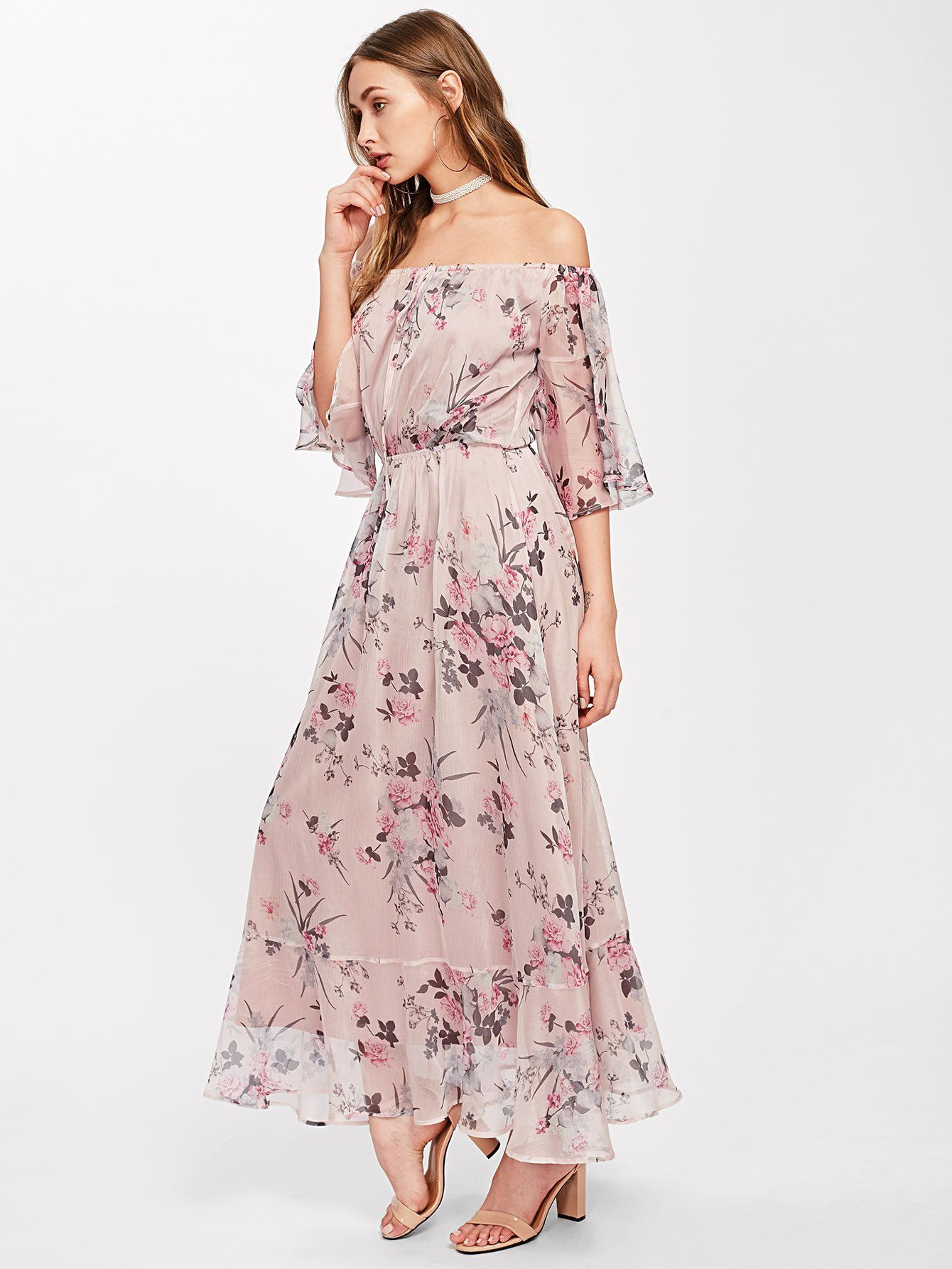 12ec83aa4f Material: 100% Polyester Color: Pink Pattern Type: Floral Neckline: Off the  Shoulder Style: Vacation, Sexy, Elegant Silhouette: A Line Decoration:  Ruffle ...
